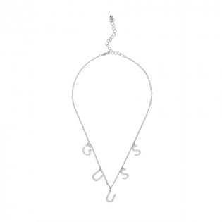 'Silver-Tone Pave Logo Charm' Necklace