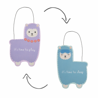 'Little Llama Sleep Time Reversible' Hanging Plaque