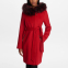 Women's 'Fur Strip Hooded Wrap' Coat
